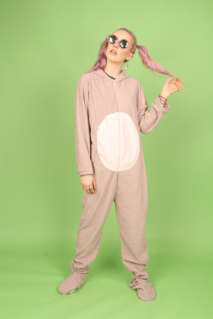 Taupe Buck Tooth Rabbit Footy Onesie | Onesieful