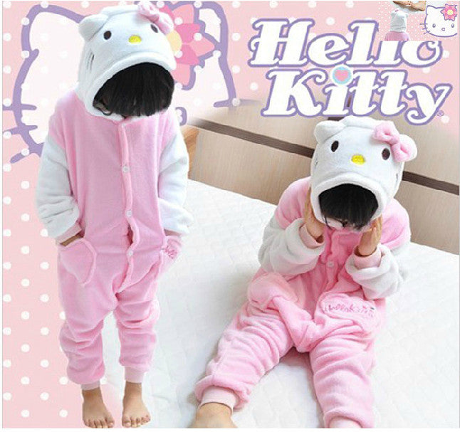 Pretty Pink and White Hello Kitty Kids Onesie | Onesieful