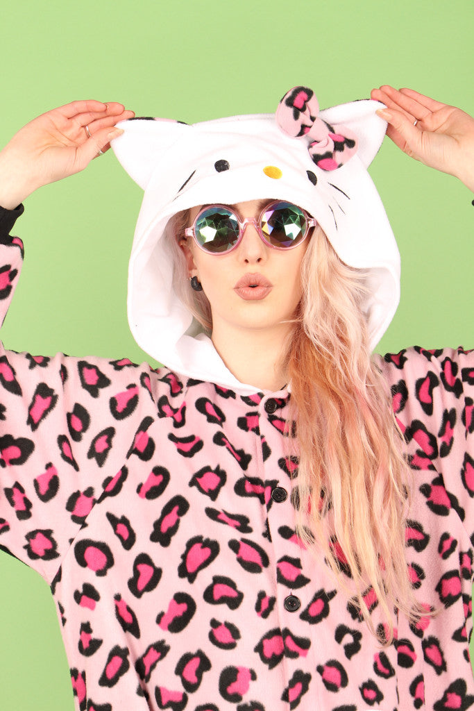 Pink Leopard Hello Kitty Onesie | Onesieful