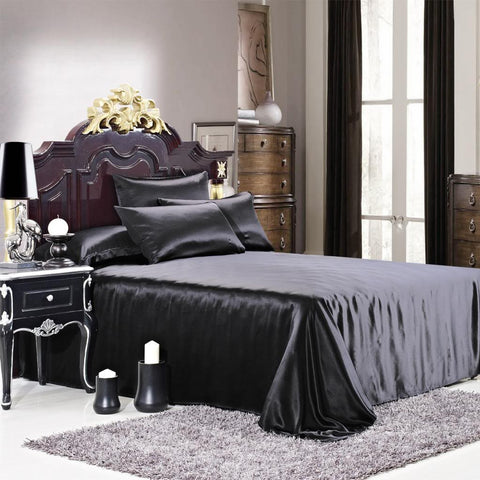 19 momme Black Luxuer Silk Flat Sheet - LUXUER Silk & Pearl