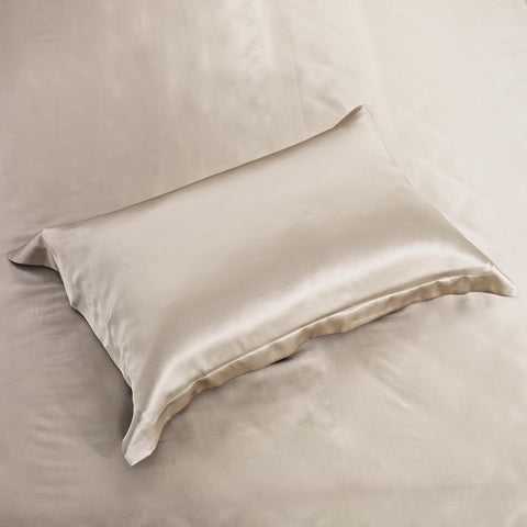 19 momme Light Coffee/Khaki Luxuer Pair of 2 Silk Oxford Pillowcases - LUXUER Silk & Pearl