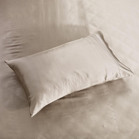 19 momme Light Coffee/Khaki Luxuer Pair of 2 Silk Terse Pillowcases - LUXUER Silk & Pearl