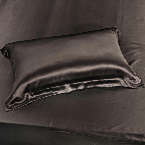19 momme Chocolate Luxuer Pair of 2 Silk Oxford Pillowcases - LUXUER SILK