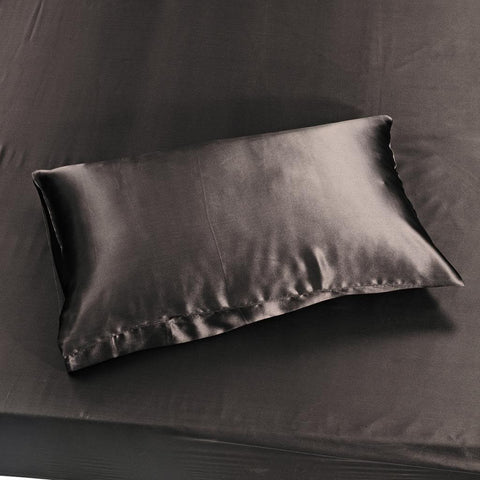 19 momme Chocolate Luxuer Pair of 2 Silk Terse Pillowcases - LUXUER Silk & Pearl