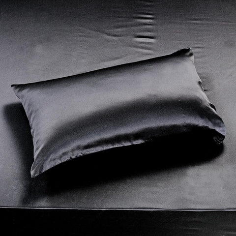 19 momme Black Luxuer Pair of 2 Silk Terse Pillowcases - LUXUER Silk & Pearl