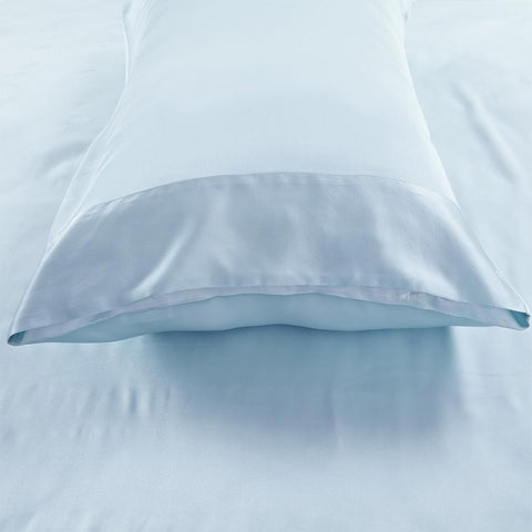 19 momme Turquoise Luxuer Pair of 2 Silk Terse Pillowcases - LUXUER Silk & Pearl