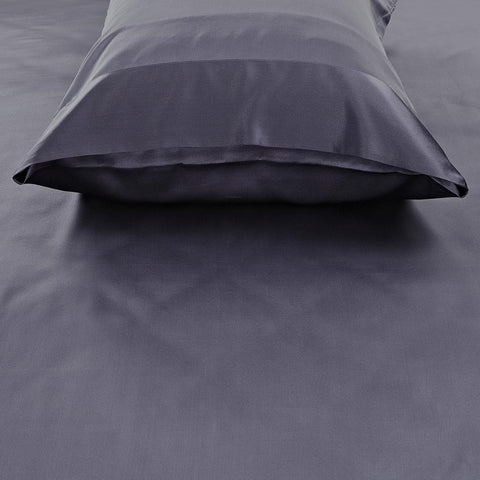 19 momme Deep Grey/Gray Luxuer Pair of 2 Silk Terse Pillowcases - LUXUER Silk & Pearl