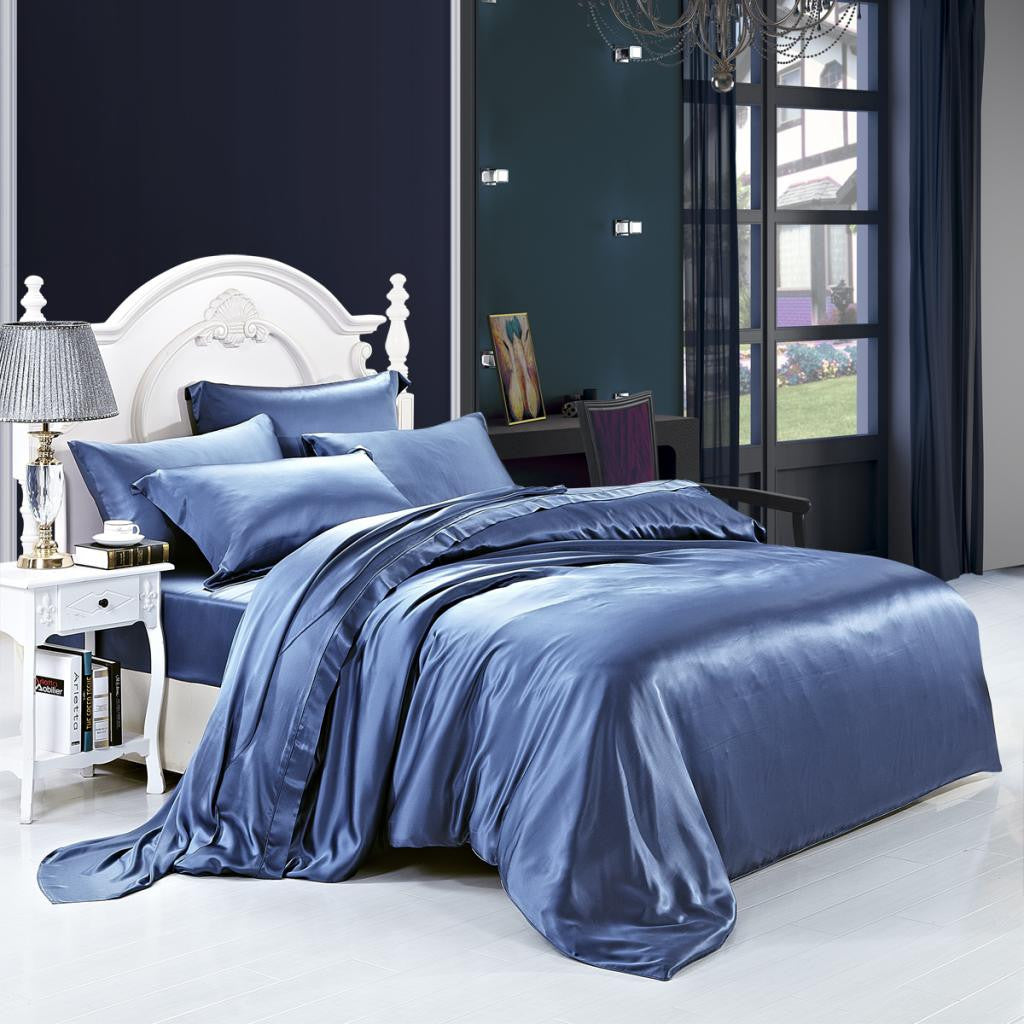 19 momme royal blue luxuer 7pieces silk bedding collections luxuer silk u0026 pearl - Silk Bedding