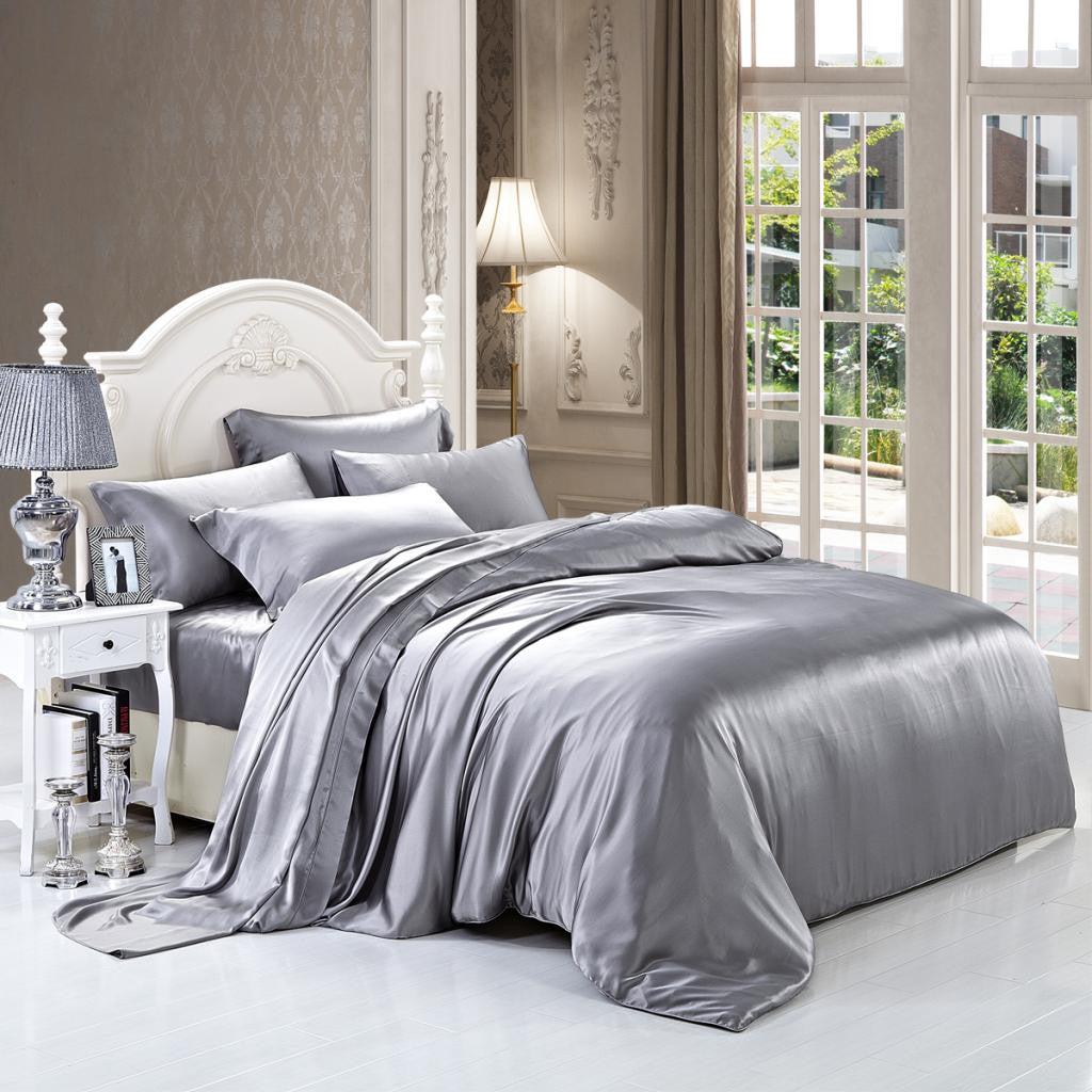 19 momme silver grey luxuer 7pieces silk bedding collections luxuer silk u0026 pearl