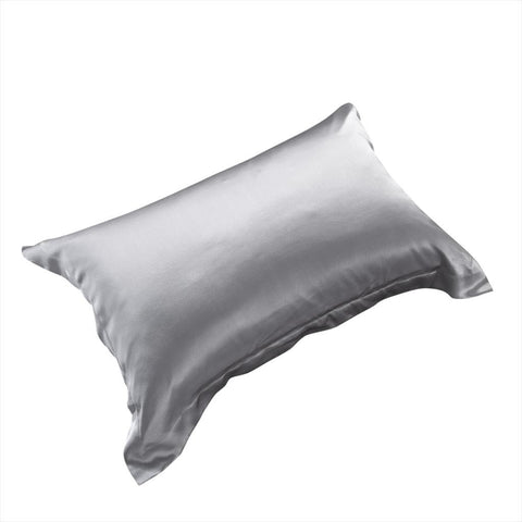 19 momme Silver Grey/Gray Luxuer Pair of 2 Silk Oxford Pillowcases - LUXUER Silk & Pearl