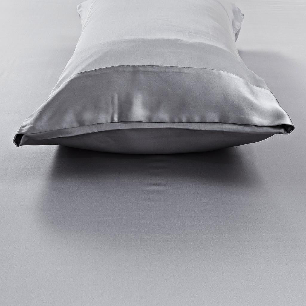 19 momme Silver Grey/Gray Luxuer Pair of 2 Silk Terse Pillowcases - LUXUER Silk & Pearl
