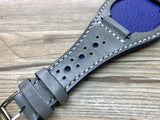 Handmade leather cuff watch strap, Brogue Pattern leather cuff watch band for Rolex Watches (Vintage Grey) - 20mm/18mm - eternitizzz-straps-and-accessories