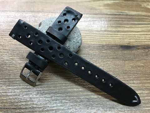 Leather watch Straps, Rally & Racing Watch straps, Black watch Straps, 20mm strap, 18mm 19mm and 20mm watch band, FREE SHIPPING