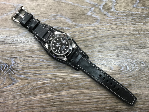 20mm Leather Watch Strap, Rolex Watch Strap, 19mm Black Watch Band, Full Bund Strap