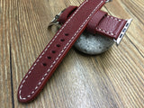 Apple Watch 44mm 40mm 38mm 42mm, Apple Watch Band, Brandy Red Leather Watch Strap, Series 1 2 3 4 - eternitizzz-straps-and-accessories
