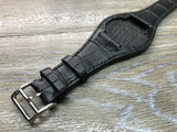 Black Alligator full bund strap, Handmade Leather Cuff watch band, Leather Cuff watch Strap 20mm, leather watch band - anniversary, gift, Black Full bund watch strap for Rolex, IWC in 19mm/20mm lug - eternitizzz-straps-and-accessories