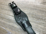 Black full bund strap, Handmade, Leather Cuff watch band, brogue pattern watch strap, 20mm, Bespoke, leather watch band, Free shipping - eternitizzz-straps-and-accessories