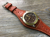 Leather bund strap for Rolex, Leather watch strap, Brogue Pattern Orange Leather Watch Strap, 20mm Watch band for Tudor, 19mm lug - eternitizzz-straps-and-accessories