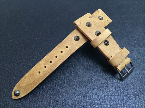 Vintage Real Leather Strap for Rolex, IWC, Omega (Khaki - Metal Pin) - 20mm/16mm