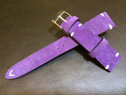 Suede Leather Watch Strap, Rolex Watch Strap, IWC Watch Band, Purple Watch Strap, 20mm, 19mm, 18mm watch band