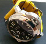Panerai Watch Strap, Panerai Watch Band 26mm, Yellow Leather Watch Strap, 24mm - eternitizzz-straps-and-accessories
