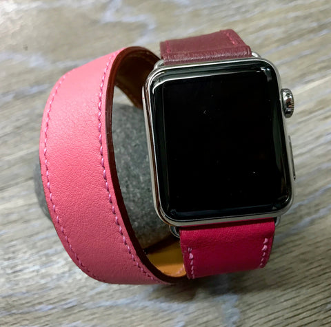 Apple Watch 38mm 40mm, Apple Watch Hermes, Bordeaux / Rose Extréme / Rose Azalée, Apple Watch Straps, Double Tour Series 4, FREE SHIPPING