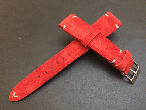 Real suede leather watch strap for Rolex, IWC, Omega (Red) - 20mm/16mm