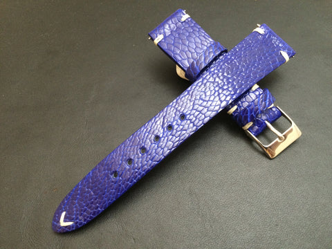 Rolex Watch Strap, Leather Watch Band, 20mm, 19mm, Ostrich Leg leather watch strap, Blue Watch Band, 18mm