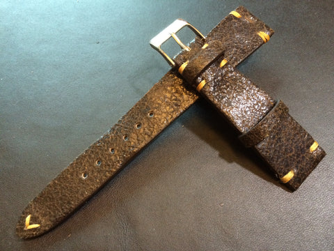 Cracked pattern real leather watch strap for Rolex, IWC, Omega (Dark Brown) - 20mm/16mm