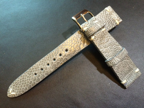 Shiny Grey Ostrich leg Leather watch strap for Rolex (20/16 mm) - Rare material