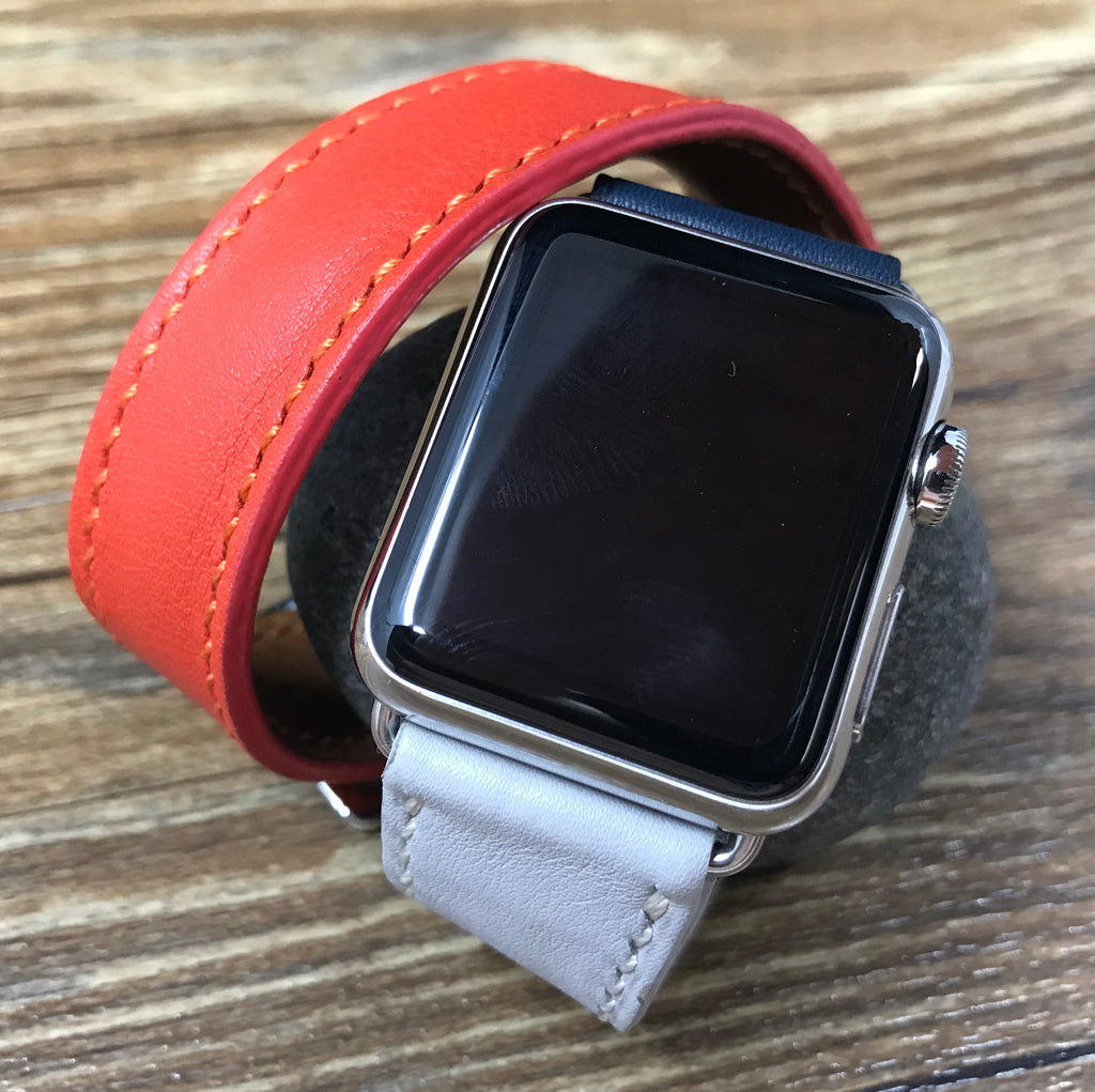 Apple Watch 40mm 38mm, Apple Watch Hermes, Double Tour Series 4, Indigo / Craie / Orange Swift Leather, Apple Watch Band Straps, FREE SHIPPING - eternitizzz-straps-and-accessories