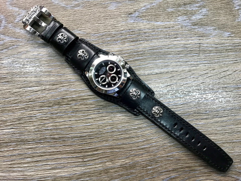 Leather watch band, chrome Heart, Full bund strap, Black watch band, 20mm watch band, Watch Strap