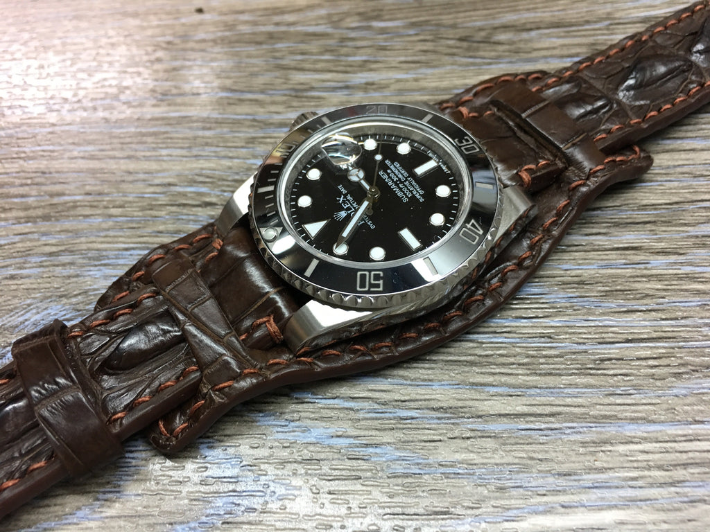 brown watch band watches replacement for woodward replacements clasp matte allen with alligator shop rolex handmade strap john deployment