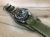 Horween Shell Cordovan Leather cuff watch Band for Rolex Watches (Army Green) - 20mm/20mm - eternitizzz-straps-and-accessories