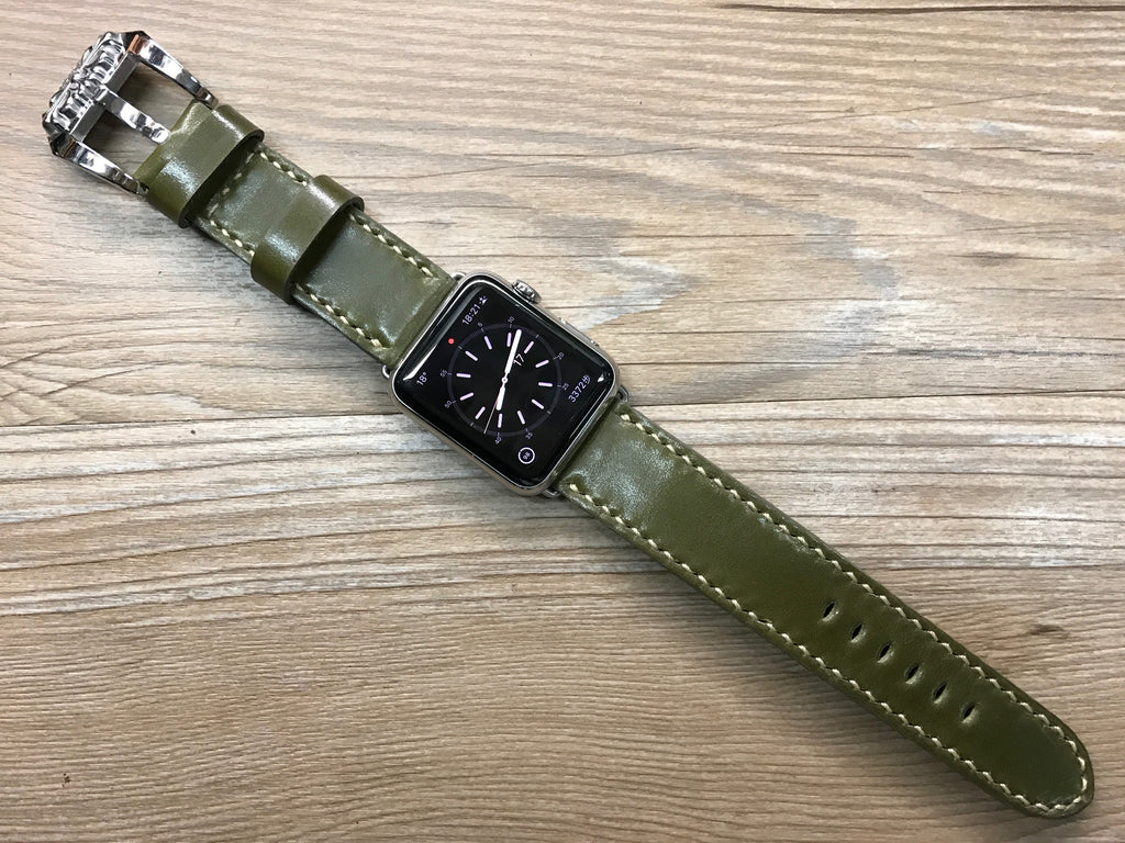 Apple Watch Series 6, Apple Watch Band, Shell Cordovan Green Leather Watch Band, Apple Watch 44mm, Chrome Hearts Watch Buckle