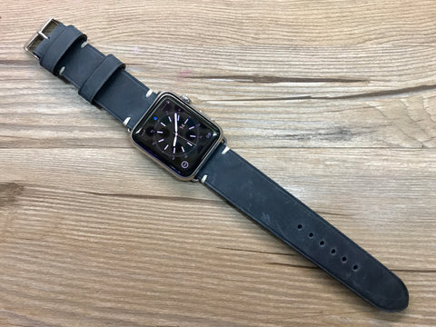 Apple Watch 44mm 40mm 42mm 38mm, Apple Watch Band for Series 5, Space Gray, Stainless Steel Silver watch case, Vintage Black Leather - Discount