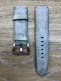 24mm straps, Handmade waxed vintage Blue leather watch band, real leather watch strap for Panerai - eternitizzz-straps-and-accessories