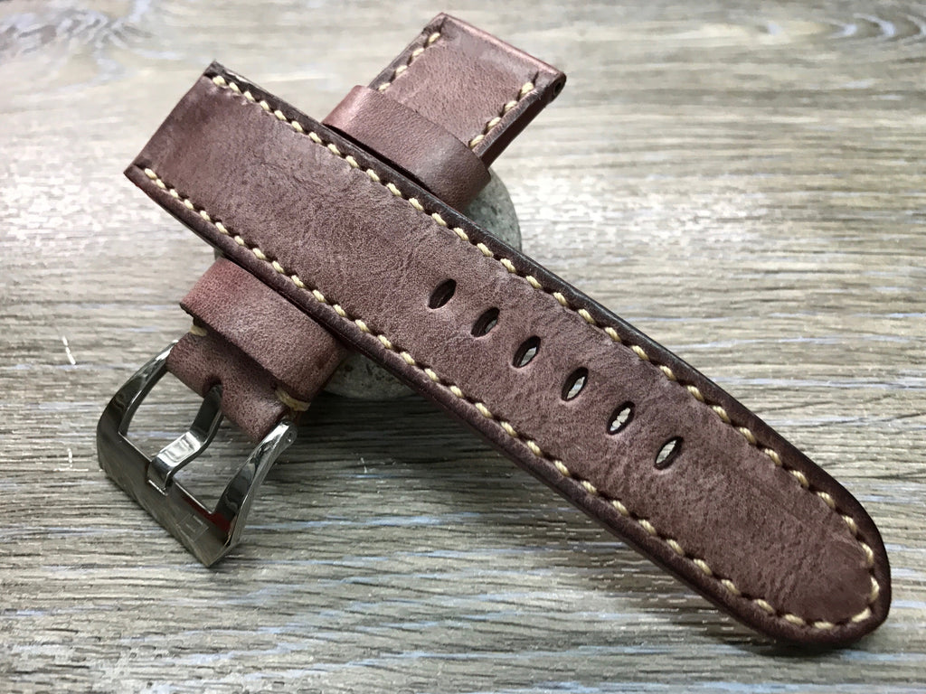 24mm straps, Handmade waxed vintage leather watch band, real leather watch strap for Panerai - eternitizzz-straps-and-accessories