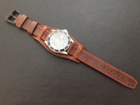 Real leather cuff watch strap for Rolex Watches (vintage brown) - 20mm/20mm