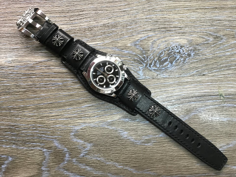 Leather watch band, Chrome Heart, Watch Strap, Full bund strap, 20mm watch band, Black watch band