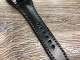 Black Shell Cordovan Leather Watch Straps 20mm, Mens Wrist Watch Bands, Leather Watch Bracelets, Full Bund Straps in Grey Stitching, Personalise Gift