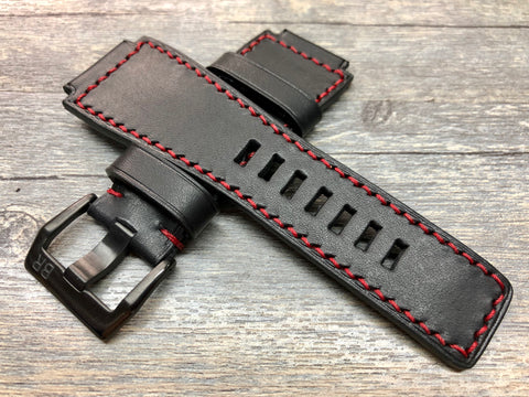 Bell & Ross Watch Straps, Black Leather Watch Bands and Leather Watch Straps - Red Stitching
