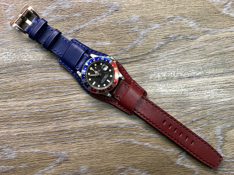 Leather Watch Straps, Leather Bund Straps, Watch Band for Rolex GMT Master 2 Pepsi, Watch Band, Leather Watch Strap 20mm, Blue Red Watch Strap