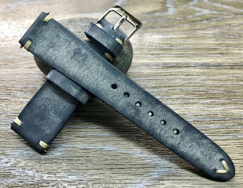 Blue Leather Watch Strap, Distress Leather Watch band 20mm, Rolex watch strap 19mm
