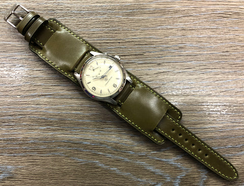 Paul Newman Leather Watch Straps, Shell Cordovan Army Green leather Bund Straps,  Mens wrist watchband replacement, 20mm 19mm Leather Watch Bands