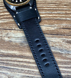 Leather Watch Straps in 22mm lug with black and Gold stitching on with Oval buckle hole