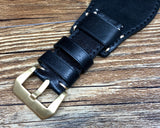 Black Leather Watch Straps, Leather Bund Straps 22mm, Genuine Leather Watch Band 22mm for Seiko Black Gold Prospex, Mens Wrist Watch Band Christmas Gift Ideas