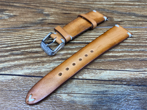 Leather Watch Straps 20mm, Vintage Brown Leather Mens Wrist Watch Band Replacement, Personalise Christmas Gift idea, Hand Stitched Vintage Faded Brown Leather Watch Straps, Watch Straps 19mm for Rolex