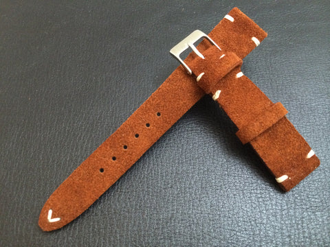 20mm Leather Watch Strap, Suede Leather Watch Strap, Brown Watch Band for Rolex and IWC, Omega