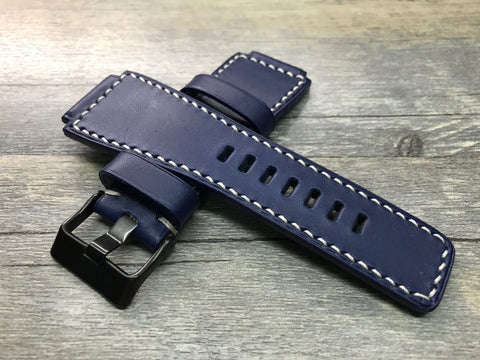 Bell & Ross Watch Straps, Watch Bands and Leather Watch Straps - Ocean Blue and White Stitching